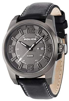 Police Men's Quartz Watch with Grey Dial Analogue Display and Black Leather Strap 14762JSU/61