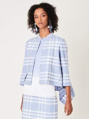 Oscar de la Renta Large Check Double-Face Wool Asymmetric Jacket