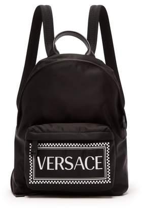 Versace Logo Print Leather Trimmed Backpack - Mens - Black