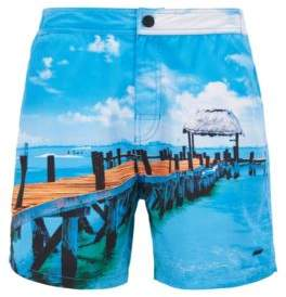 BOSS Hugo Mid-length swim shorts photographic print L Open Blue