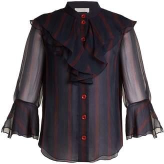 Chloé Striped ruffle-trimmed silk-chiffon blouse