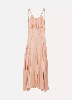 Chloé Ruffled Silk-jacquard Maxi Dress - Pink