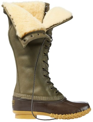 "L.L. Bean Signature Tumbled-Leather L.L.Bean Boots, 16"" Shearling-Lined"