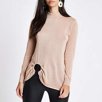 River Island Gold knit high neck ring hem long sleeve top