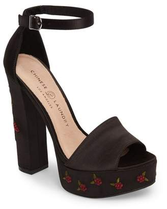 Chinese Laundry Amy Flower Embroidered Platform Pump