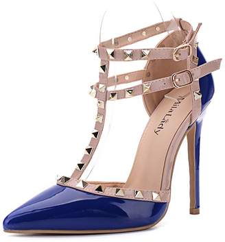 Mila Louise Lady (ETHER08 Two -Tone Patent Strappy Ankle with Stud Elegance Platform Lady Heeled Pumps Shoes !