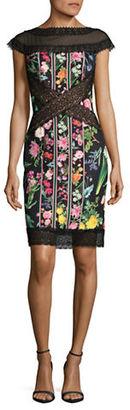 Tadashi Shoji Sheer Floral Sheath Dress $379 thestylecure.com