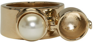 Maison Margiela Gold Pearl Ring $295 thestylecure.com