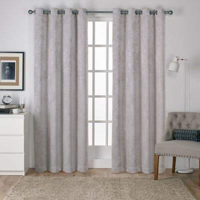 Antique Shantung 108-Inch Room Darkening Window Curtain Panel Pair in Silver