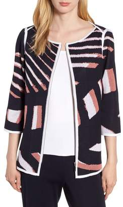 Ming Wang Zip Front Knit Jacket