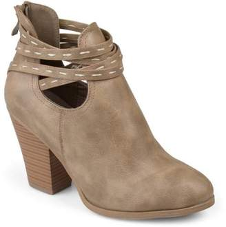 Co Brinley Collection Brinley Women's Faux Leather Strappy Chunky Stacked Heel Booties