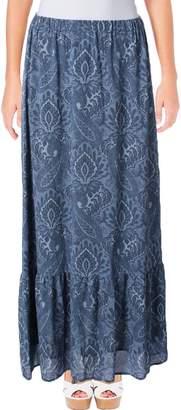 MICHAEL Michael Kors Womens Printed Pull On Maxi Skirt Blue XS