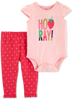 7220aff1dfd Carter s Carter Baby Girls 2-Pc. Hooray Graphic Cotton Bodysuit   Pants Set