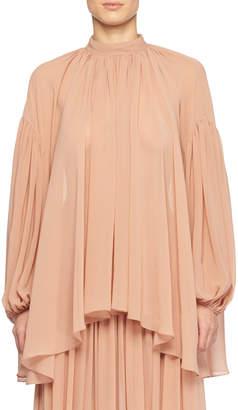 Stella McCartney High-Neck Long-Sleeve Silk Peasant Blouse
