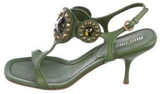Miu Miu Embellished Ankle-Strap Sandals