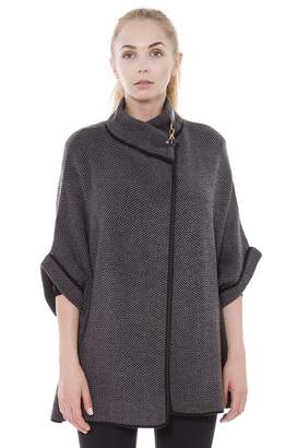 L & T Outcrews Women's Tweed Knitted Buckled Sweater Cape, Short Sleeves, Poncho