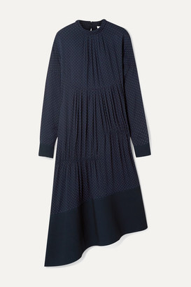 Tibi Asymmetric Gathered Polka-dot Voile Midi Dress - Navy