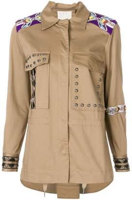 Pinko beaded and stud military jacket