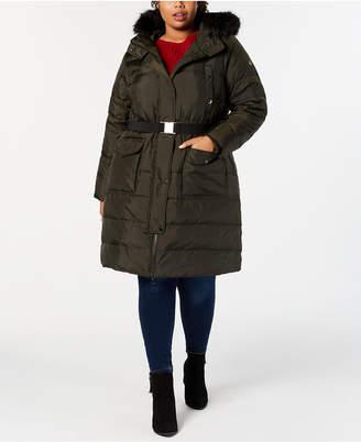 Michael Kors Plus Size Faux-Fur-Trim Hooded Belted Down Coat