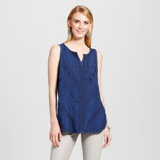 Knox Rose Women's Embroidered Knit to Woven Oil Wash Tank $22.99 thestylecure.com