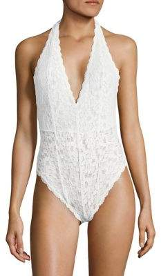 Free People Lace Halter Bodysuit