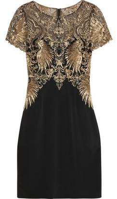 Marchesa Metallic Embroidered Tulle And Stretch-Silk Dress
