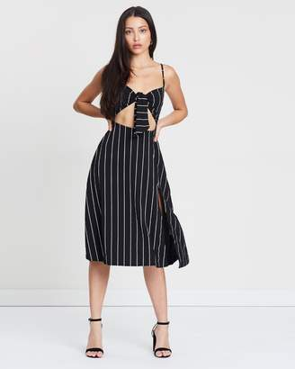 Missguided Stripe Tie-Front Split Midi Dress