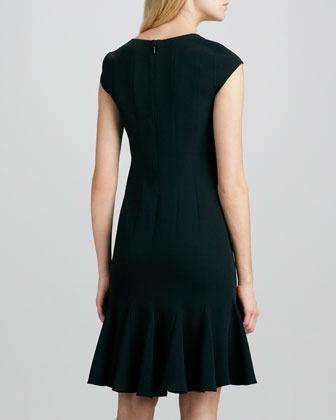 BCBGMAXAZRIA Cap-Sleeve Flare-Hem Dress