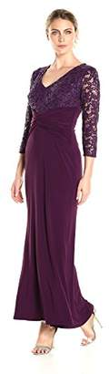 Marina Women's Lace Jersey Combo Long Sleeve Gown