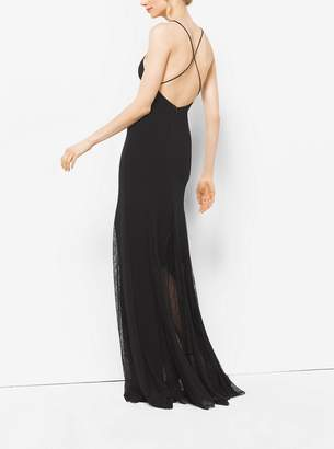 Michael Kors Stretch Wool-Crepe and Chantilly Lace Slip Gown