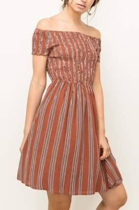 Hem & Thread Off Shoulder Dress