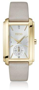 BOSS Hugo Yellow-gold-plated rectangular watch pink leather strap One Size Assorted-Pre-Pack