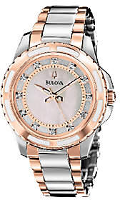 Bulova Ladies Two-Tone Diamond Dial Bracelet Watch, Rosetone $375 thestylecure.com