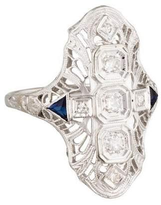 Ring 14K Vintage Diamond & Synthetic Sapphire