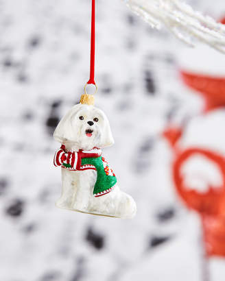 Joy To The World Collectibles Maltese with Candy Cane Ornament