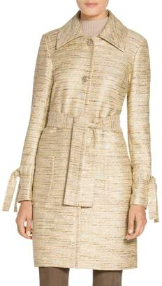 St. John Metallic Tweed Belted Coat