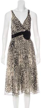 Lela Rose Animal Print Sleeveless Dress