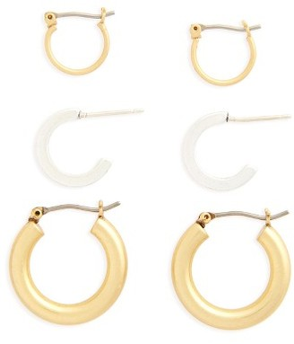 Women's Madewell Set Of 3 Mini Hoop Earrings $32 thestylecure.com