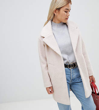 Asos DESIGN Petite cocoon coat in texture