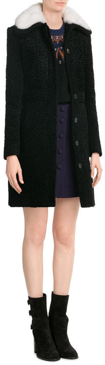 Carven Carven Coat with Rabbit Fur Collar