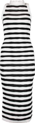 Balmain Long Striped Back Zip Dress