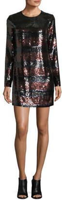 Veronica Beard Breakers Jewel-Neck Sequin Mini Dress