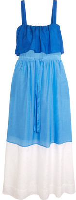 Diane von Furstenberg - Color-block Cotton And Silk-blend Maxi Dress - Azure $230 thestylecure.com