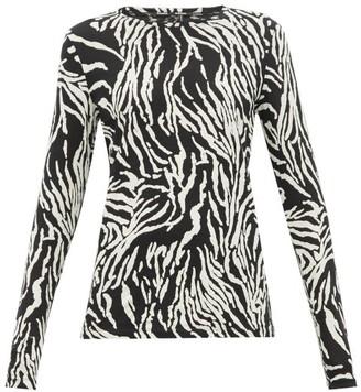 Proenza Schouler Zebra Print Cotton Jersey Long Sleeve T Shirt - Womens - Black White