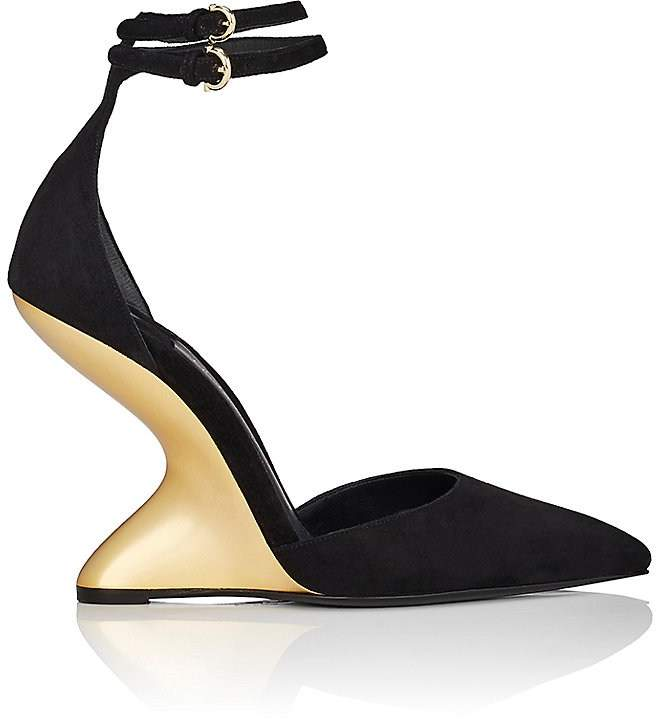 Salvatore Ferragamo Women's Sculpted-Heel Suede Ankle-Strap Pumps
