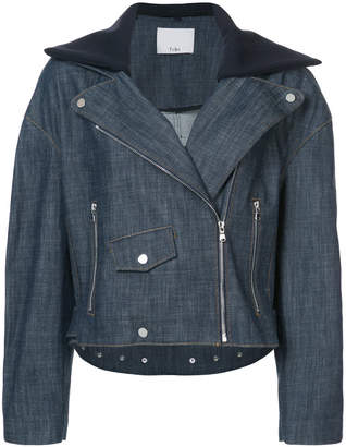 Tibi oversized motorcycle style denim jacket