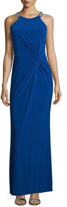 Laundry By Shelli Segal Twist-Front Beaded Neck Gown, Blue Beret $295 thestylecure.com