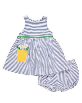 Florence Eiseman Sleeveless Striped Seersucker Dress w/ Bloomers, Blue, Size 3-24 Months $88 thestylecure.com