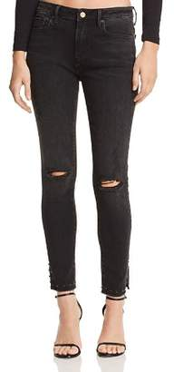 Aqua Studded-Hem Distressed Skinny Jeans in Charcoal Wash - 100% Exclusive