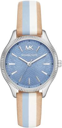 Michael Kors Lexington Stainless Steel Leather-Strap 3-Hand Watch